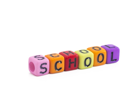 alphabetical order: School word in letter cubes