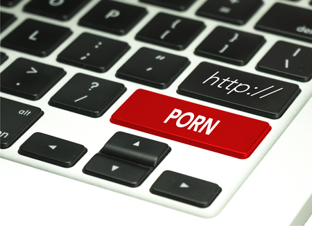 perversion: Adult Only porn Button on White Computer Keyboard.