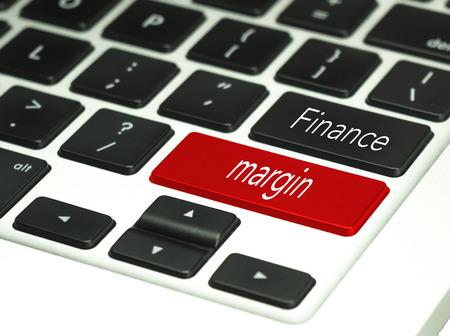 margine: finance code language finance margin in keyboard button.
