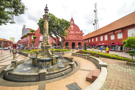 protestant: MALACCA, MALAYSIA - DEC 4, 2015: Water fountain in front of Christ Church & Dutch Square in Malacca City, Malaysia. It was built in 1753 by Dutch & is the oldest 18th century Protestant church in Malaysia. Editorial