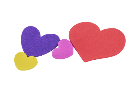family isolated: Colorful love shape isolated white background. Family and loving concept. Stock Photo