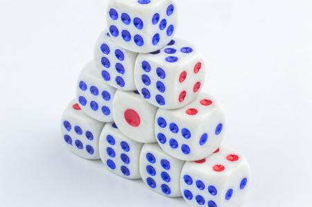 stacking: White dice stacking with close up view