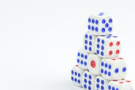 stacking: white dice stacking with close up view Stock Photo