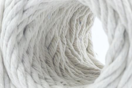 slipped: White rope with macro view