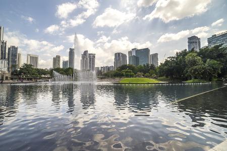 klcc: KUALA LUMPUR, MALAYSIA - JANUARY 10, 2016: Water fountain at Kuala Lumpur Convention Center (KLCC) park. Editorial