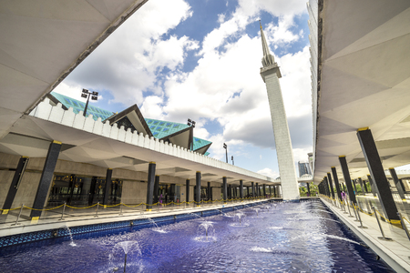 KUALA LUMPUR, MALAYSIA - JANUARY 10, 2016: View of National Mosque of Malaysia (Masjid Negara). This mosque was declared open on 1965. Editorial