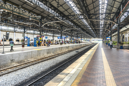 KUALA LUMPUR, MALAYSIA - JANUARY 10, 2016:  Kuala Lumpur Central Station interior view. It was opened in 1995, owned by Keretapi Tanah Melayu (KTM).?