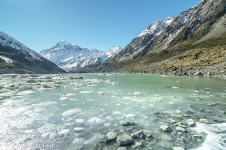 south island new zealand: Mueller Glacier Aoraki Mt Cook National Par, South Island, New Zealand Stock Photo