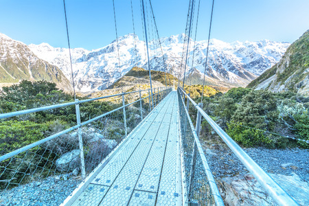 hooker: Suspension Bridge over Hooker River, Mount Cook National Park, Canterbury, South Island, New Zealand