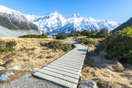 Hooker valley walking trek in Mouth Cook, New Zealand