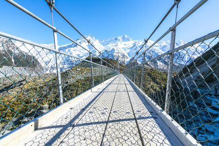 Suspension Bridge over Hooker River, Mount Cook National Park, Canterbury, South Island, New Zealand