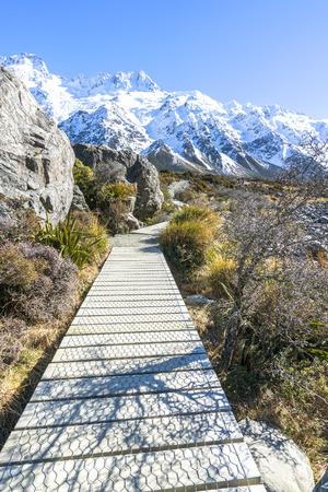 hooker: Hooker valley walking trek at Mouth Cook, New Zealand Stock Photo