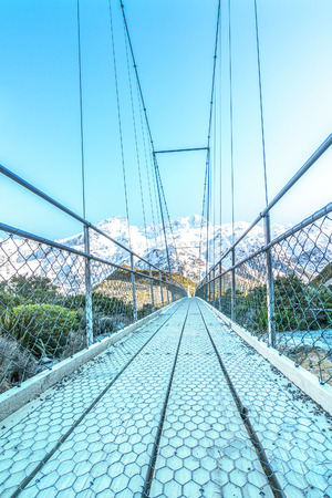 aoraki mount cook national park: Suspension Bridge over Hooker River, Mount Cook National Park, Canterbury, South Island, New Zealand