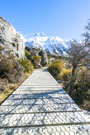 aoraki mount cook national park: Hooker valley walking trek with sun flare at Mouth Cook, New Zealand Stock Photo