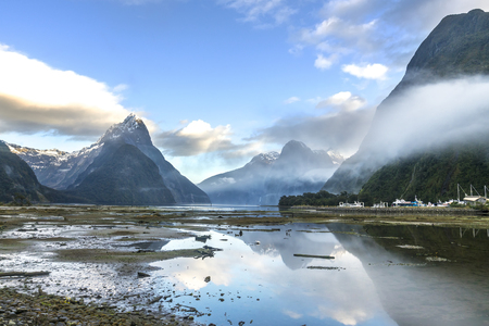 milford: Mountain view at Milford Sound, New Zealand Stock Photo