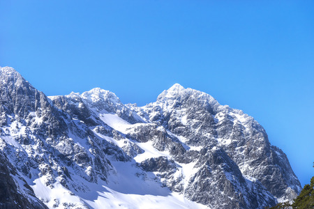 Top Mountains Covered With Snow - Southern Alps, New Zealand