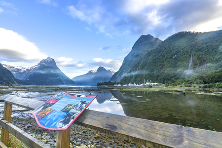 Mountain view at Milford Sound, New Zealand Editorial