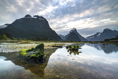 mitre: Sunrise and reflection at Mitre Peak, Milford Sound in Fiordland National Park, New Zealand