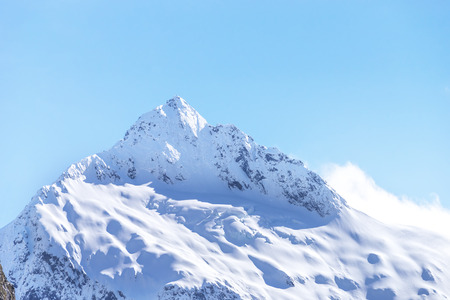 arial view: Top Mountains Covered With Snow - Southern Alps, New Zealand