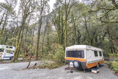 campsite: MILFORD SOUND, NEW ZEALAND - SEPT 04, 2016: Motorhome park at Milford Sound Campsite, New Zealand. Editorial