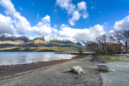 Lake with mountain at Glenorchy, New Zealand.