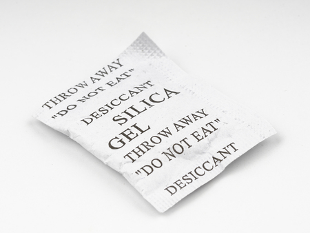 hygrometer: Silica gel on white background Stock Photo