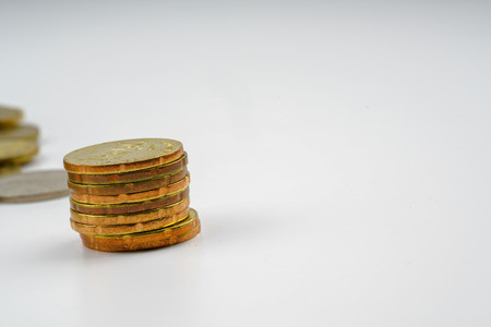 moneyed: Yellow coins with white background