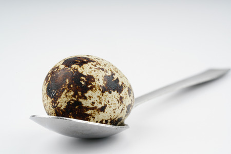 Spoon and quail egg with white background Stock Photo