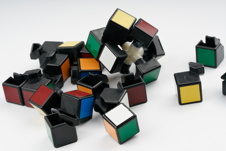 educational problem solving: Broken puzzle with white background. Give up concept.