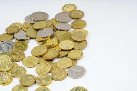 Yellow coins with white background