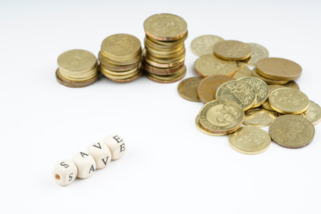 stacking: yellow coins stacking with finance bussiness concept.