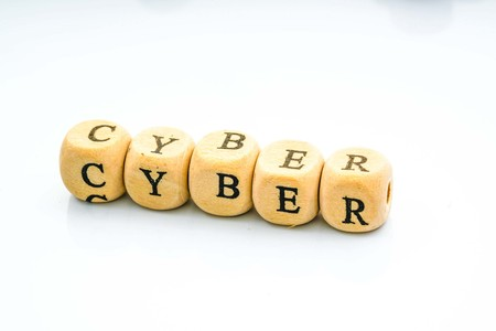 Internet security  In Wooden Cube Stock Photo