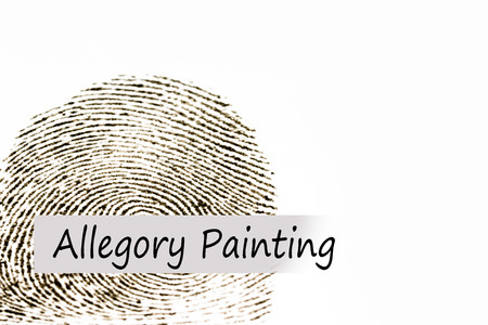 allegory painting: Conceptual text with blur thumb print