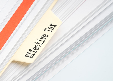 excise: Paper filing with conceptual taxed text.