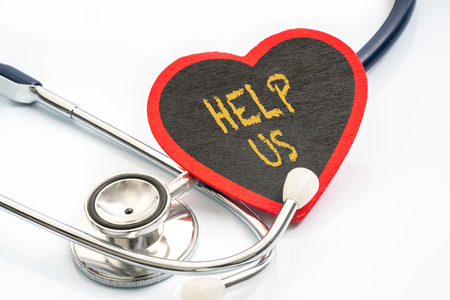 Stethoscope and red love with medical conceptual text.