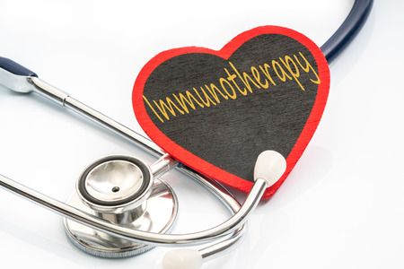 immunotherapy: stethoscope and red love with medical conceptual text.