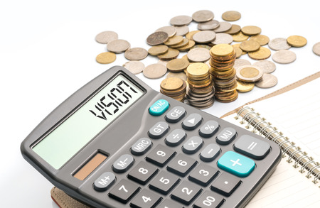 Coins and calculator with financial conceptual text