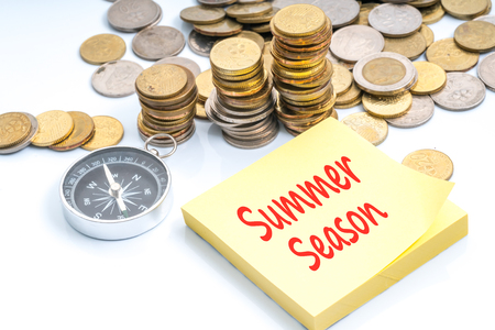 holiday budget: Coins and compass with red text - travel and holiday concept Stock Photo