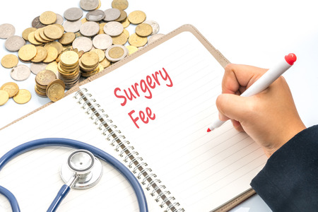 profiting: Book with red text writing of healthcare concept. Stock Photo