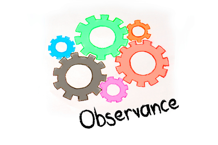 observance: Gear and mechanism with conceptual text.