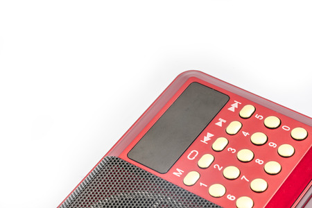 fm: Red radio with white background Stock Photo