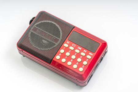 Red radio with white background Stock Photo