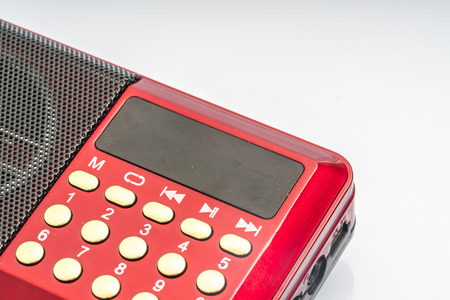 Red radio with white background Stock Photo