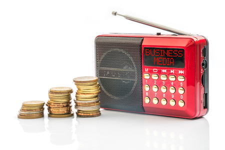 modulator: Red radio with text on screen. Marketing and business advertising concept. Stock Photo