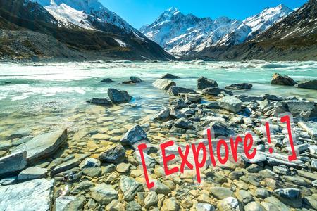 scenic spots: Mueller Glacier Aoraki Mt Cook National Par, South Island, New Zealand Stock Photo