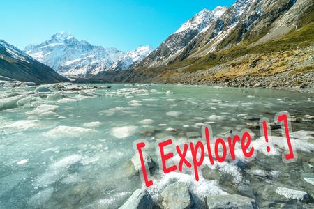 Mueller Glacier Aoraki Mt Cook National Par, South Island, New Zealand Stock Photo