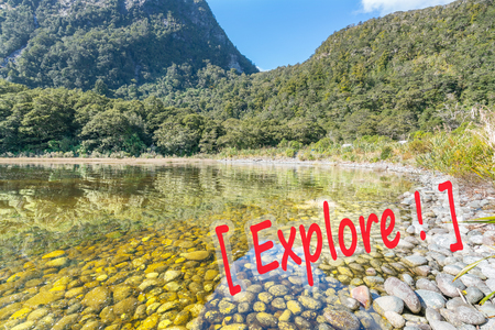 mitre: Stone at lake of Milford Sound, New Zealand
