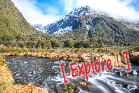 mitre: Water stream with snow mountain at monkey creek, New Zealand Stock Photo