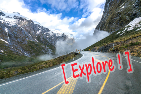 te: The road to Milford Sound among majestic mountains Stock Photo