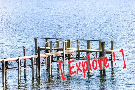 wakatipu: Wooden jetty Stock Photo